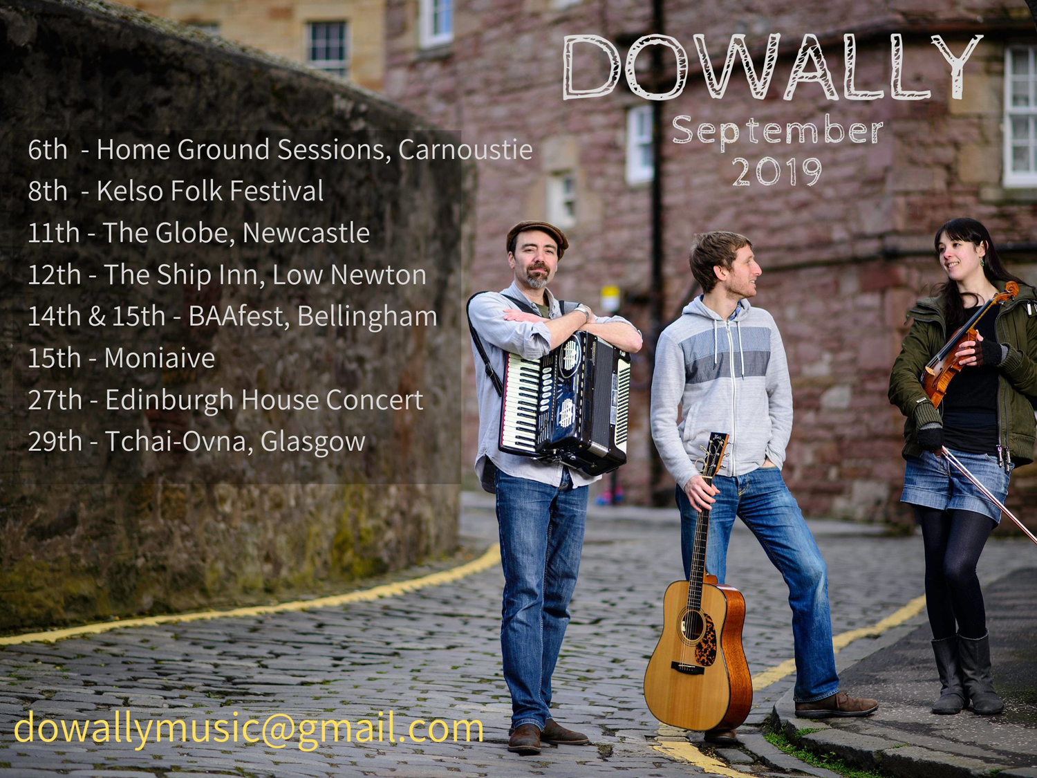 Dowally September 2019 tour dates poster